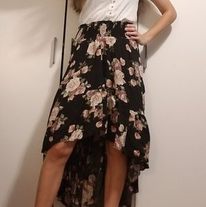 Black floral high-low skirt